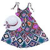 Summer Cotton Dress Cute Colourful Vintage Floral Print Beach Boho Summer Dresses with Sun Hat Sets for Toddler Girls (110(fit heigth44-47), Multicoloured7)