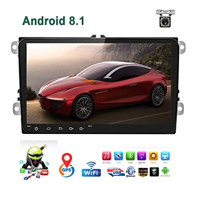 """Car Stereo Double Din Android 8.1 Car Radio for VW Passat Golf Jetta T5 EOS Polo Tiguan Touran Seat Sharan Skoda 1G RAM 16G ROM Indash Head Unit 9"""" Touch Screen with GPS Navigation Bluetooth WiFi USB: GPS & Navigation"""