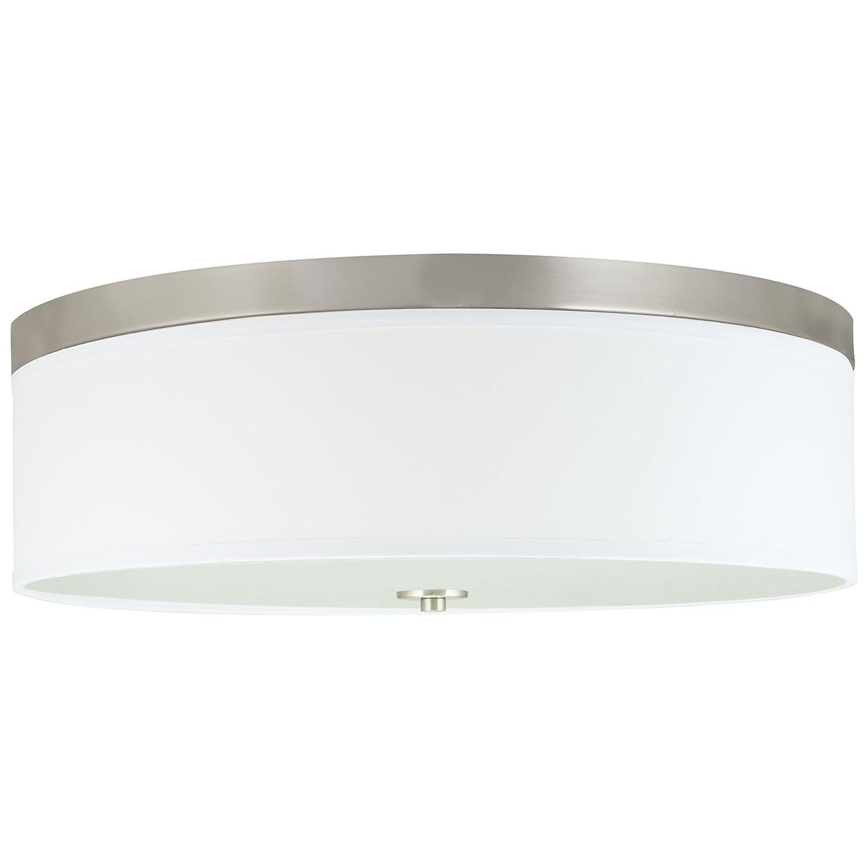 """Kira Home Walker 20"""" Large Modern 3-Light Flush Mount Ceiling Light + White Shade, Brushed Nickel Finish"""