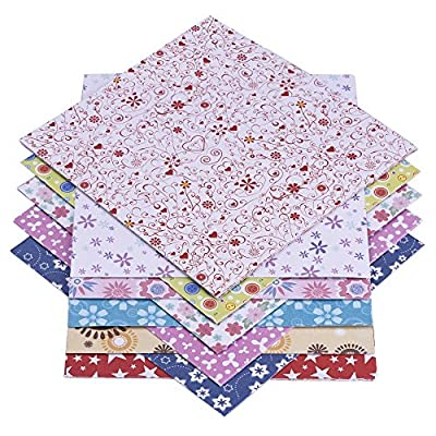 eBoot 72 Sheets Origami Paper 15 x 15 cm in 12 Different Colours and Patterns