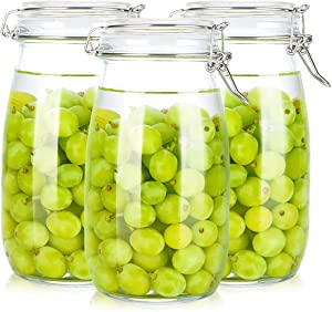Kingrol 3 Pack 50 oz Clear Glass Jars with Airtight Seal Lids, Wide Mouth Storage Canister Jars for Food