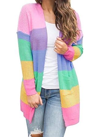 cdbca7c32ee HZSONNE Women s Casual Rainbow Color Block Open Front Cardigan Lightweight  Crochet Drape Knitted Sweater Blouse (