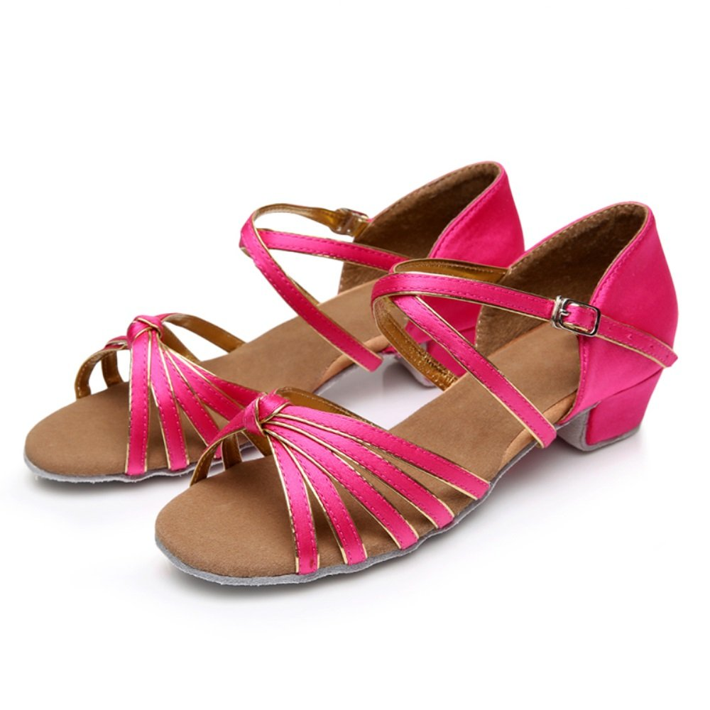 2f05a58b67f4 TMKOO  Children Latin shoes Female practice shoes Low profile dance shoes (  Color   Rose Red and Gold