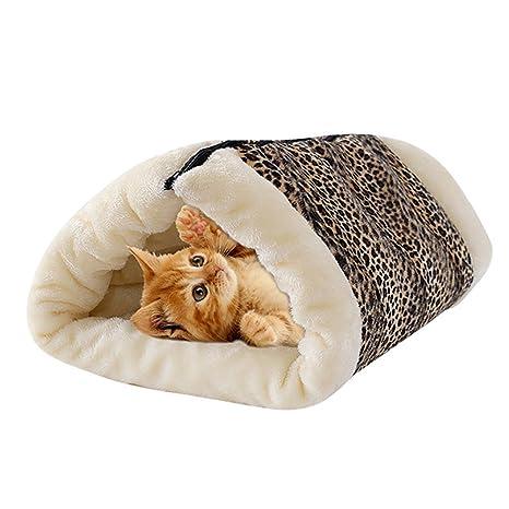 Yommie 2 en 1 cojín nido para gato pequeña casa túnel forma ...