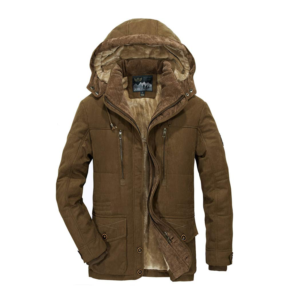 Fitfulvan Men's Winter Hooded Jacket Slim Fit Casual Jacket Button Down Coats Outwear Coffee