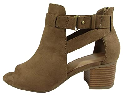 Women's Open Toe Strappy Side Cutout Chunky Stacked Block Heel Ankle Bootie