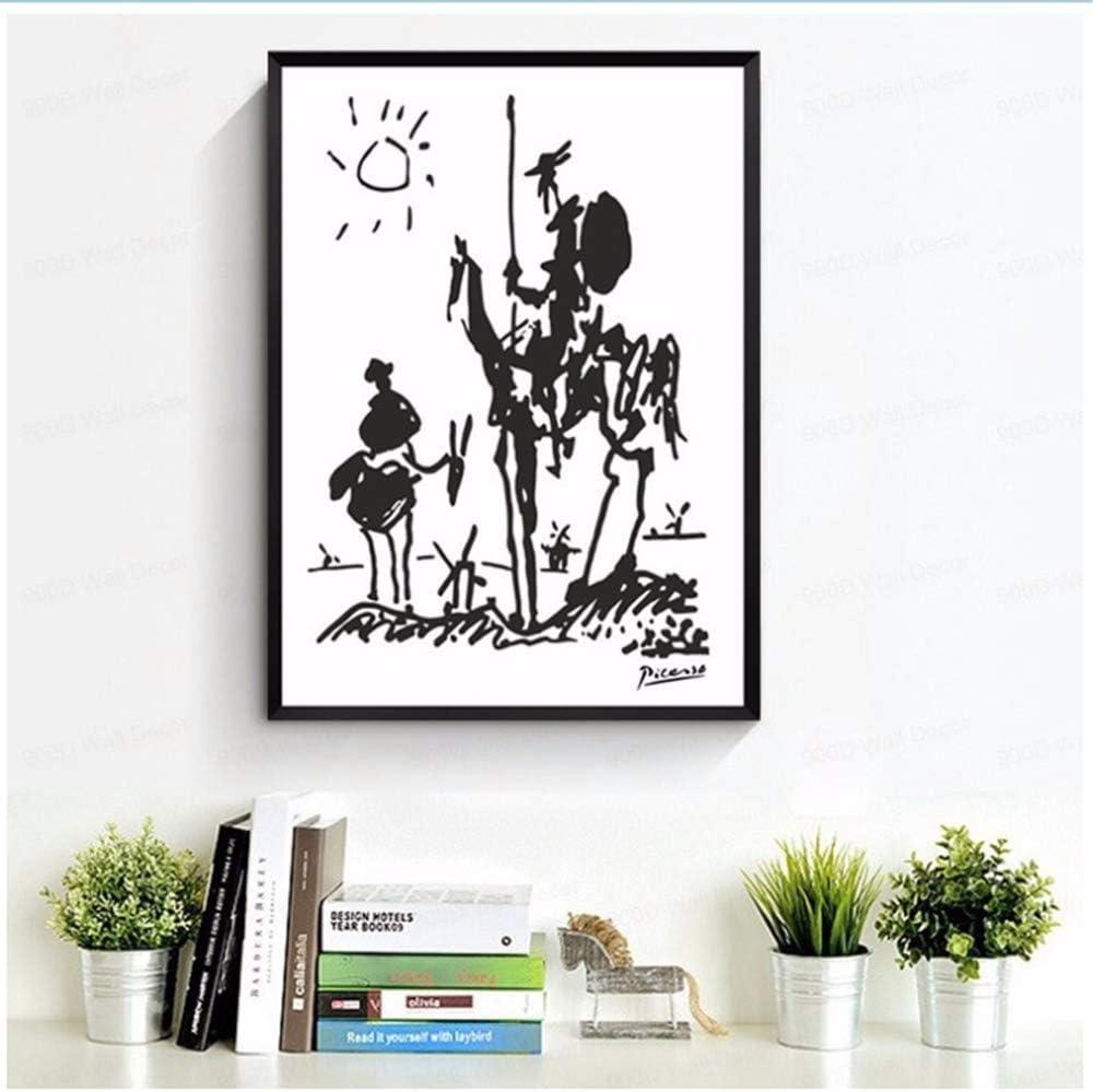 XingChen Cuadros de la Pared 50x70cm Sin Marco Resumen Don Quijote Impreso Pintura de Pared Retro Pintura al óleo Sala de Estar Decoración para el hogar Arte en Blanco y Negro