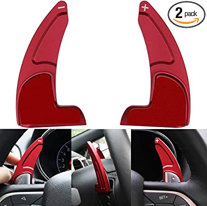 2pcs Aluminum Steering Wheel Shift Paddle Shifter Transfer Extension Interior Trim Cover for 2015-2020 Dodge Charger Challenger Durango RT /& Scat Pack Will not fit STR Version Red