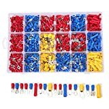 Insulated Crimp Terminals-Wire Terminal Crimp Connector Kit-Electrical Connectors-Crimp Connectors Spade-Mixed Quick Disconnect Electrical Insulated Butt (1200pcs)