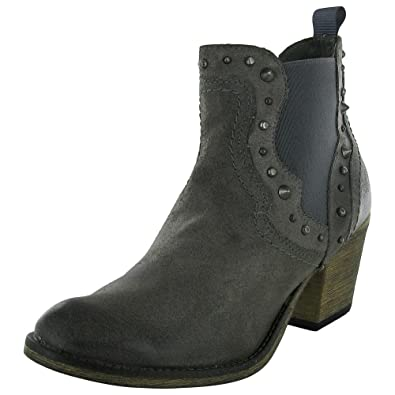Womens Concrete Zip Western Ankle Boot Shoe