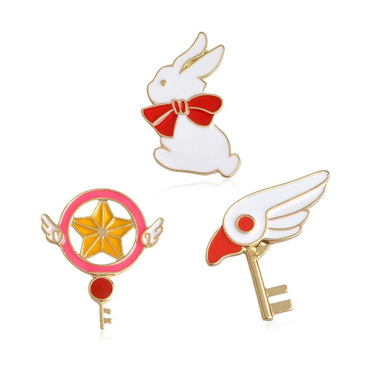 Nine tail fox Creativo Esmalte Broche pin conejo blanco Pájaro Llave Dibujos animados Broche 3 piezas: Amazon.es: Joyería