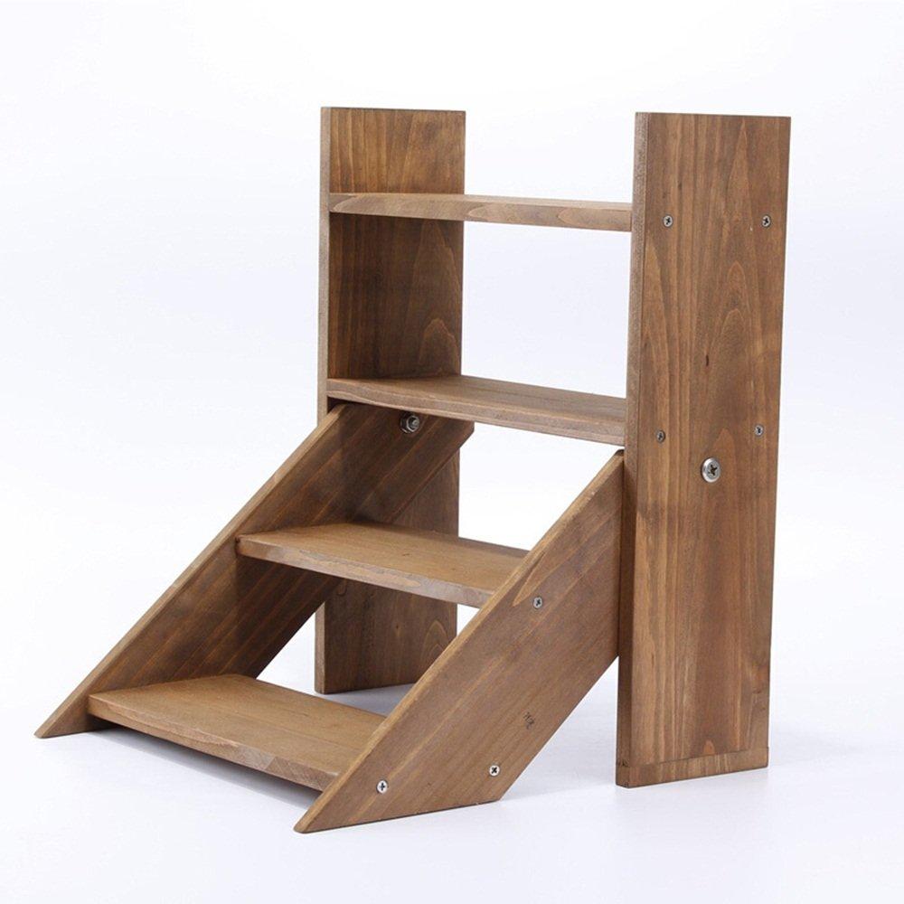 Wooden desktop flower stand / home decoration wood ladder flower rack / shelf / pot storage shelves ( Color : Brown )