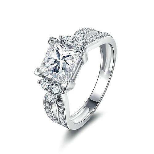Daesar Joyería Anillos de Compromiso de Plata S925 Mujer, Halo de Talla Princesa con Diamantes