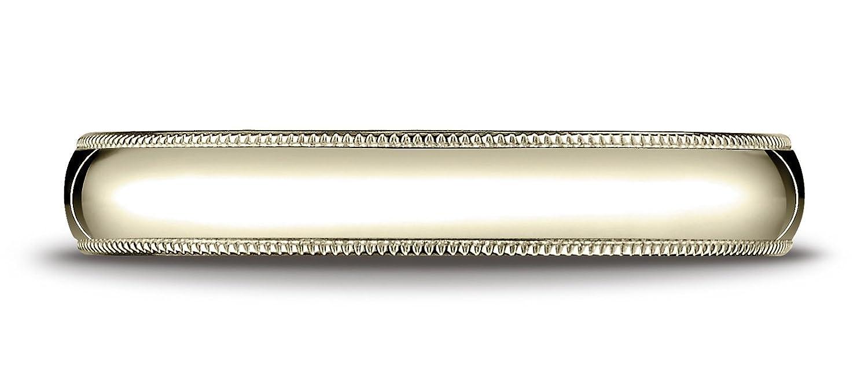 Mens 14K Yellow Gold 4mm Slim Profile Comfort Fit with Milgrain Wedding Band Ring