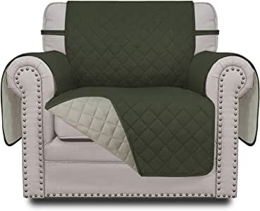 Easy-Going Sofa Slipcover Reversible Sofa Cover Furniture Protector Couch Cover with Elastic Straps for Pets Kids Children Dog Cat (Chair, Army Green/Beige)
