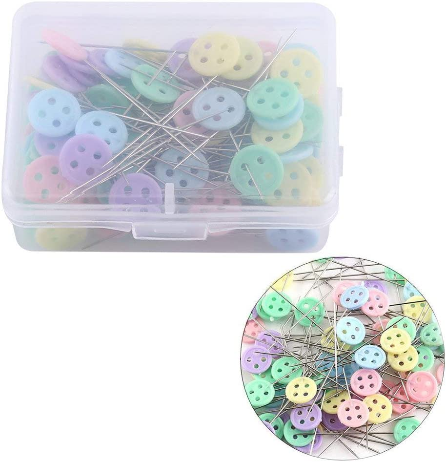 Flower Head Pins,100 Pieces Colorful Patchwork Pins DIY Sewing Straight Needles Quilting Tool for Dressmaking Decorating Crafting Marking Flat Button Shape Plasitic Boxed
