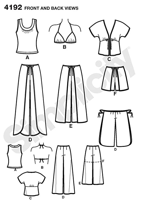 Amazon.com: Simplicity Pattern 4192 Misses Wrap Pants in 2 Lengths or Shorts, Kimono Top, Bra Top and Knit Top Sizes14-16-18-20-22: Arts, Crafts & Sewing