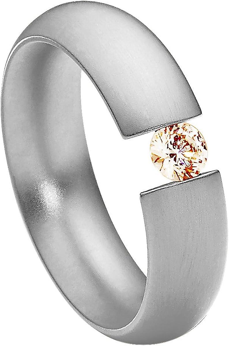 Anillo Heideman Mujer Acero Inoxidable Intensio Color Plata Mate Anillo Mujer con Piedra Swarovski Zirconia Blanco/Color Brillante Corte 4mm