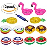 Onlove Inflatable Drink Holders,12 Packs Floats Inflatable Cup Coasters with Mini Air Pump for Water Floats,Pool Party,Kids Bath Toys