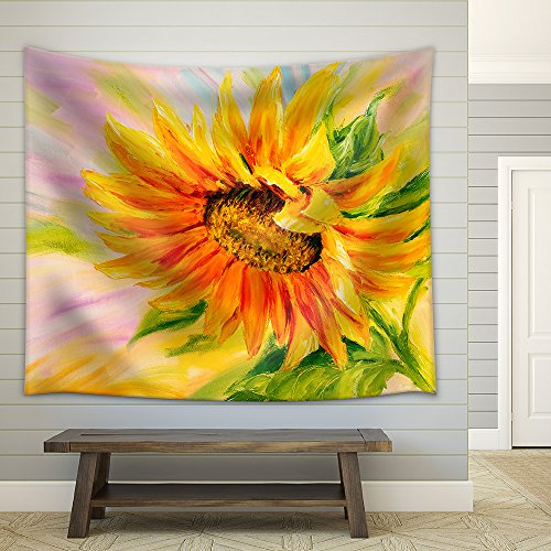 Sunflower Oil Painting Fabric Wall Tapestry