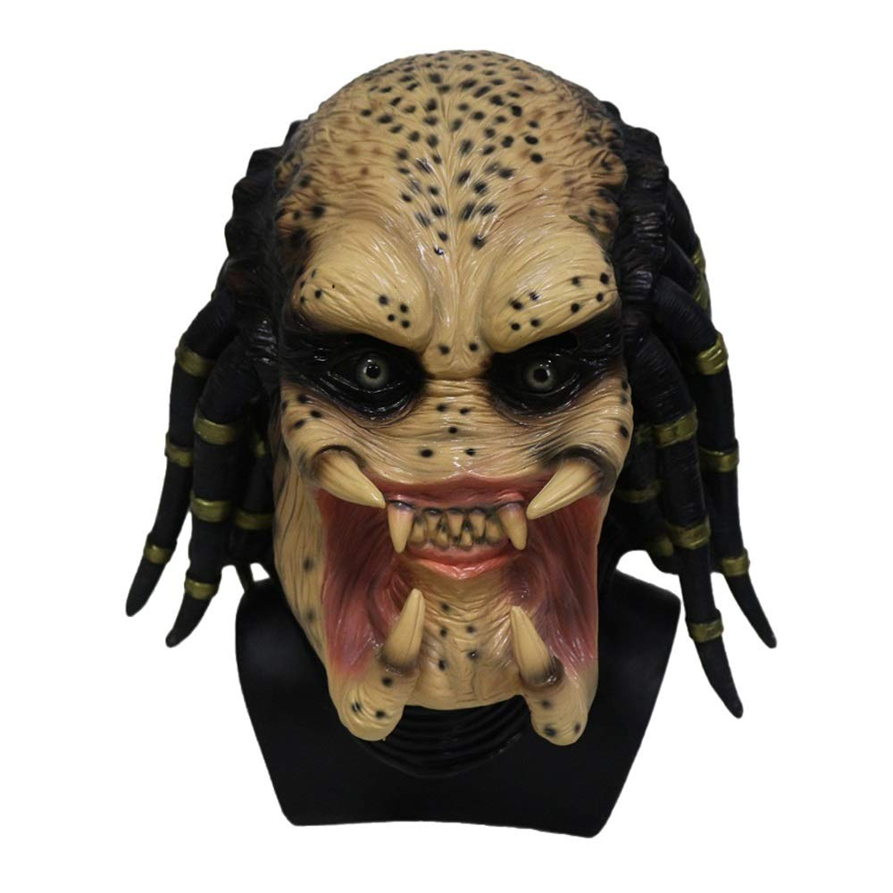 Predator Latex Mask. Full Head Hunter Bead Eyes, Moulded Realistic Dreadlocks. Fancy Dress Party, Horror or Movie Costume