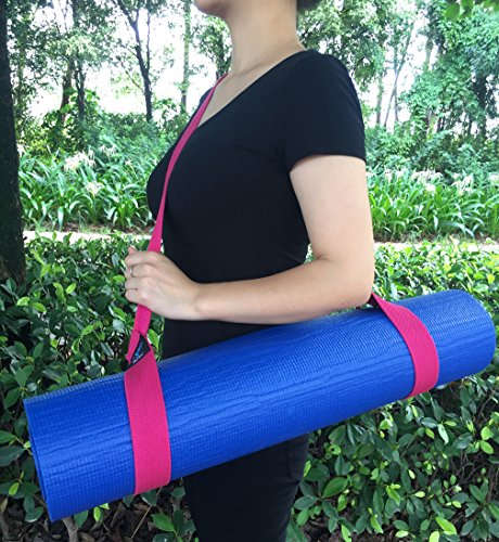 "NJ·SJ 2 in 1 Adjustable Yoga Mat Carry Strap Sling & Fitness Stretching Strap,Durable Cotton/Polyester Canvas Strap,Come with (Mat not included,71"")"