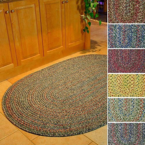 Sonya Indoor/Outdoor Oval Reversible Braided Rug, 7 by 9-Feet, Brown Multicolor