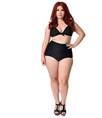 c27a7831b3 Amazon.com  Plus Size All Black Monroe High Waist Bikini Bottom  Clothing