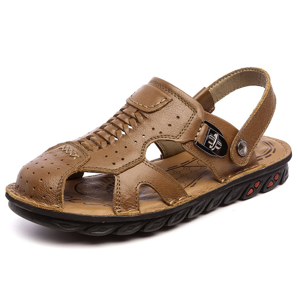 Navoku Men's Closed Toe Leather Casual Summer Sandals Brown 42 8.5 D(M) US by Navoku (Image #2)