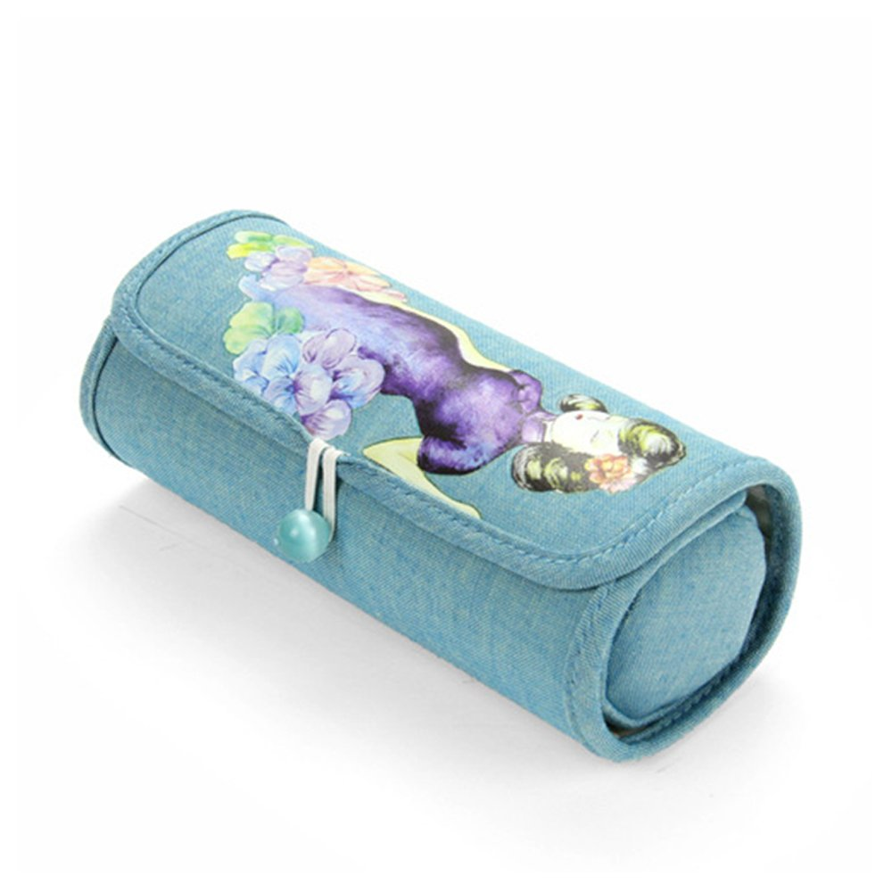 Vintage Beauty Jewelry Roll Bag Travel Case Jewelry Pouch with Removable Zipper Pouch for Rings Necklaces Bracelets Hair Clips