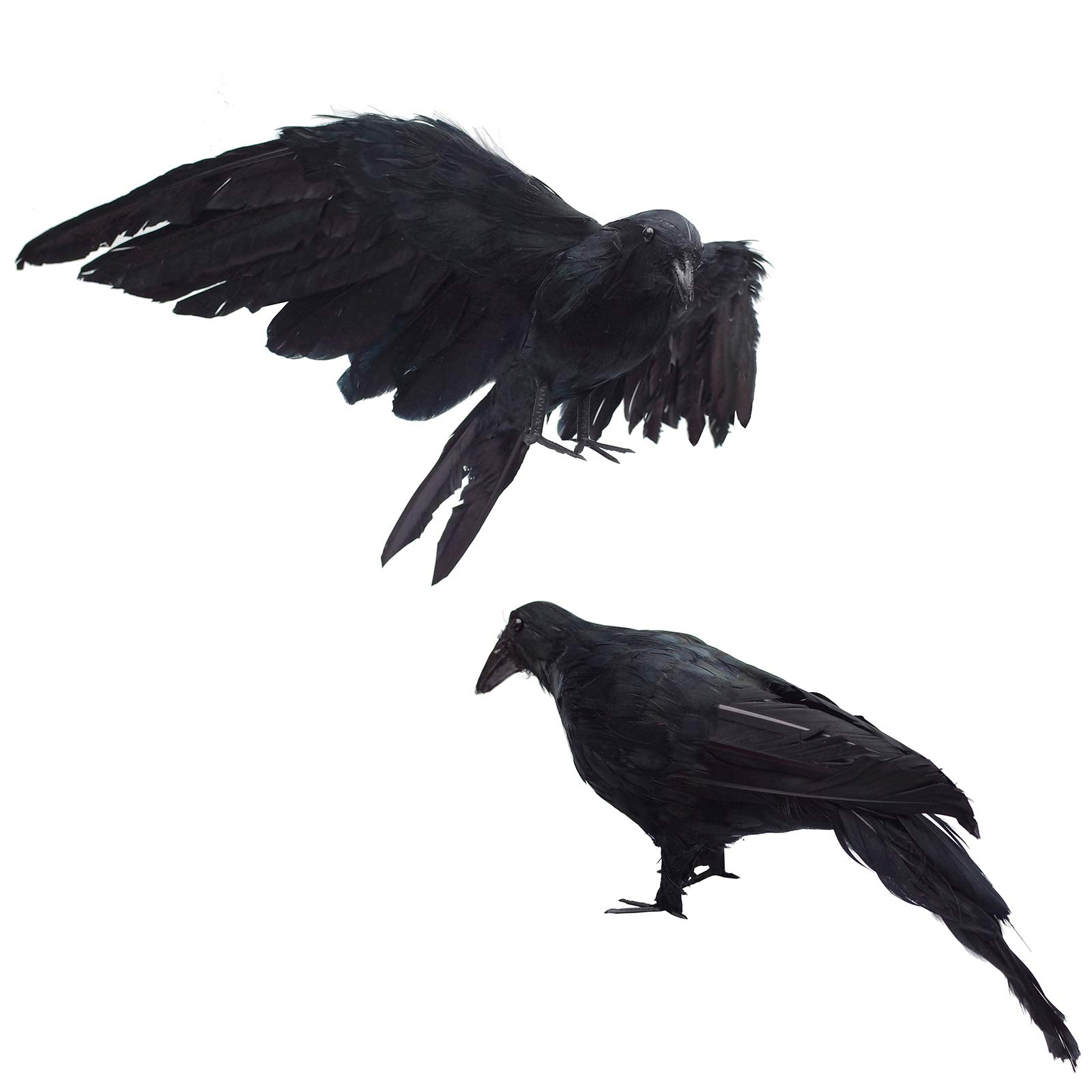 2-Pack Realistic Crows Lifesize 13'' Extra Large Handmade Black Feathered Crow for Halloween Decorations Birds