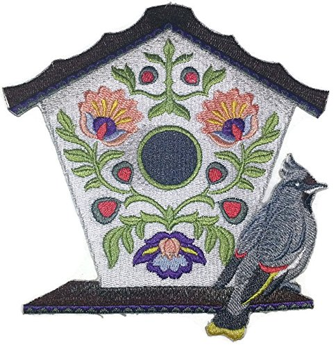 Custom and Unique,Amazing Birdhouse[ Polish Folk Art Birdhouse With Bohemian Waxwing] Embroidered Iron on/Sew patch [6.82