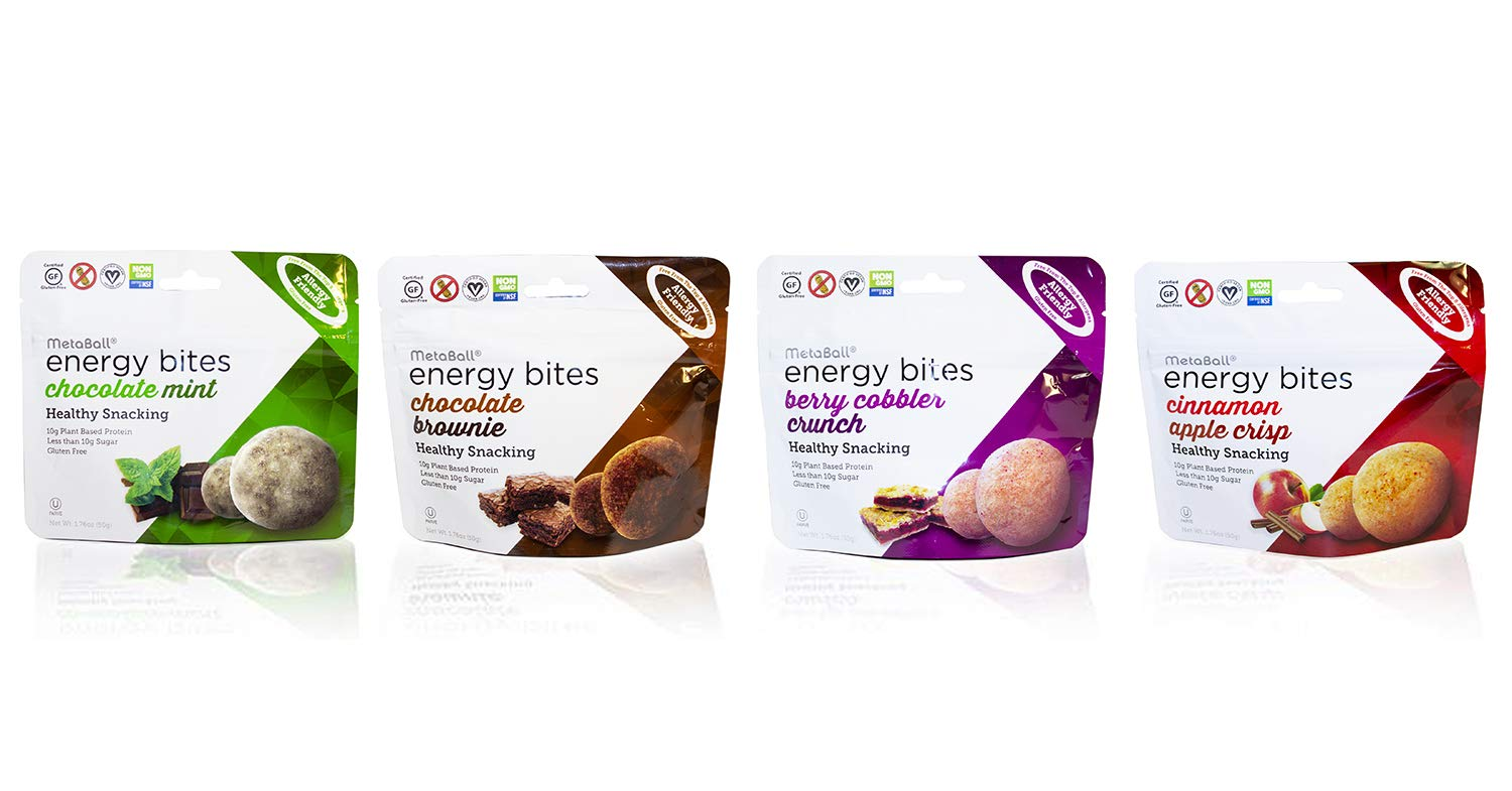 MetaBall Energy Bites – Mixed Flavor 10-Pack, Bite-Sized Protein Snack, Allergy Friendly, Vegan, Kosher, Gluten-Free (3 Choc. Mint, 3 Choc. Brownie, 2 Cinn. Apple Crisp, 2 Berry Cobbler Crunch)