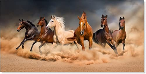 Inzlove Large Size Gallery Wrapped Running Horse Modern African Landscape Wild Animal Canvas Art Print Painting Wall Picture