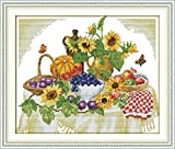 AngelGift Needlecrafts Stamped Counted Cross Stitch Set, Rich Fruit Party - Pumpkin, Blueberries, Grapes & Apples etc.