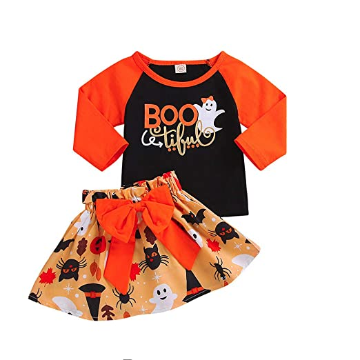 1fb65612b6b6 Amazon.com: Toddler Baby Girls Ghost Letter Patchwork Tops + Pumpkin  Cartoon Bowknot Skirt Halloween Sets: Clothing