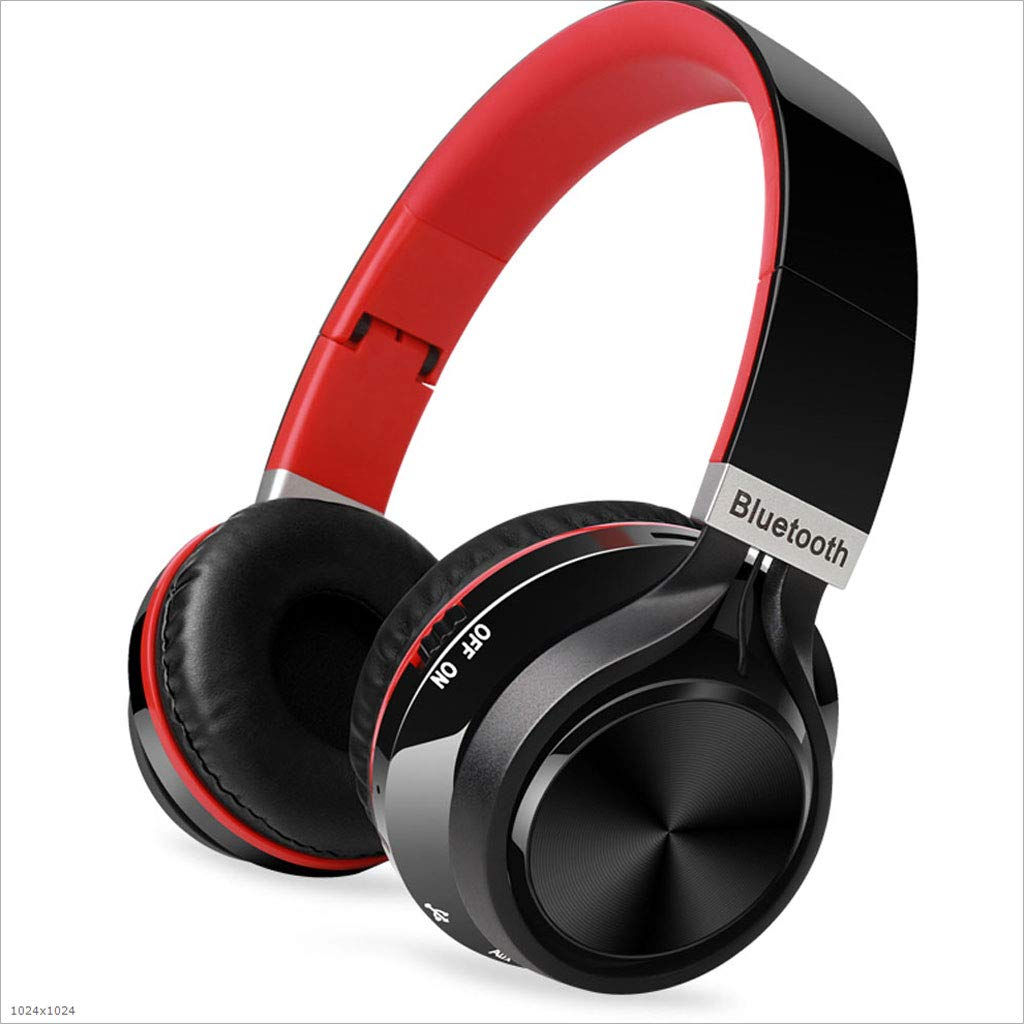 Mingteng Bluetooth Wireless Headset - White/Blue / Black/Red (Color : Red)