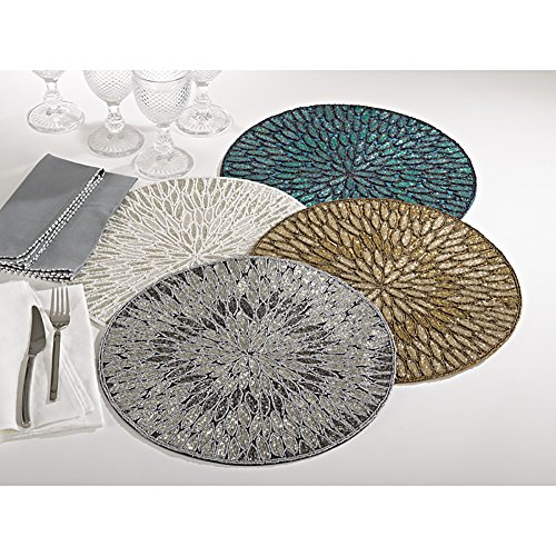 White Beaded Design Placemat 15'' Round , (4 Piece Set) by Occasion Gallery (Image #2)