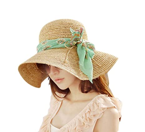 cd2a09e14 Inalfonso Sun Hat Ladies Women Beach Straw Hat with Bow-Knot Scarf ...