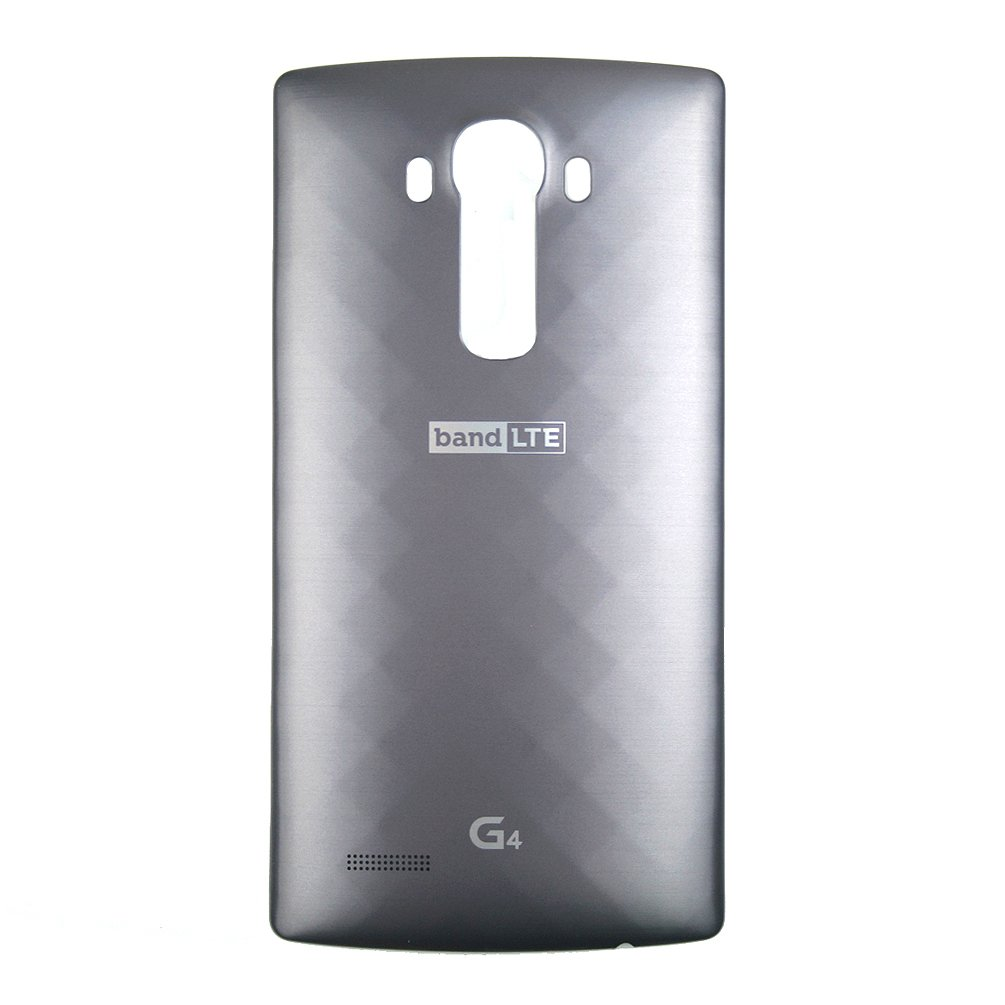 LG Leather Replacement Battery Rear Back Door Cover Case For LG G4, H815, H811, H810, VS986, VS999, US991, F500, LS991 -Metallic Gray (Plastic)