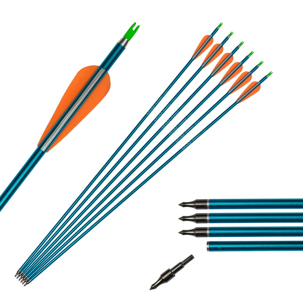 Tongtu 12pcs 32'' Aluminum Arrows Ultra Light and Hard Aviation Aluminum Upgreat Arrows with Changeable Steel Tip 3'' Plastic Feather Vanes for Compound Recurve Bows