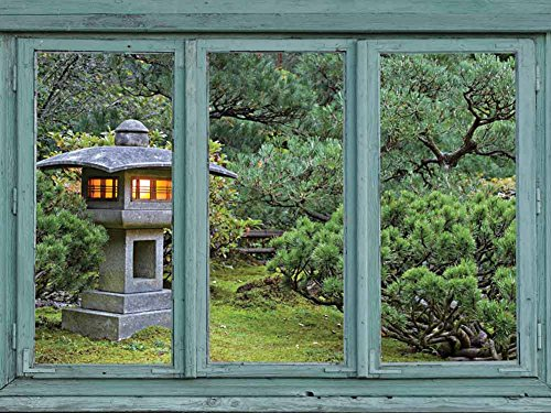 Vintage Teal Window Looking Out Into a Japanese Garden with a Lamp Post Wall Mural