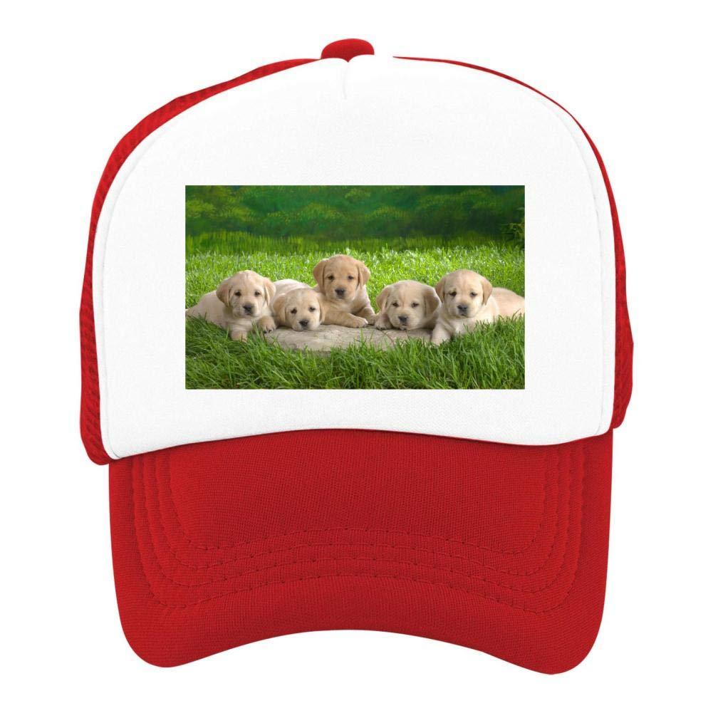 EThomasine Kids Girls Boys Mesh Cap Trucker Hats Puppies Adjustable Hat Red