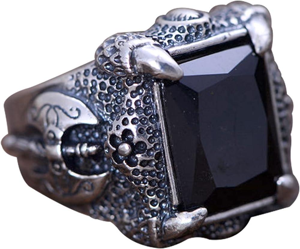 FORFOX Anillo de Garra de dragón con ónix Negra Natural de Plata de Ley 925 Vintage para Hombres tamaño 17-25