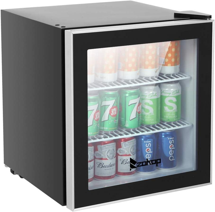 Drinks Cabinets Mini Size Portable Beverage Cooler JC-46 AC115V//60Hz 1.6Cu.Ft//46L//60CAN Beverage Refrigerator Black US