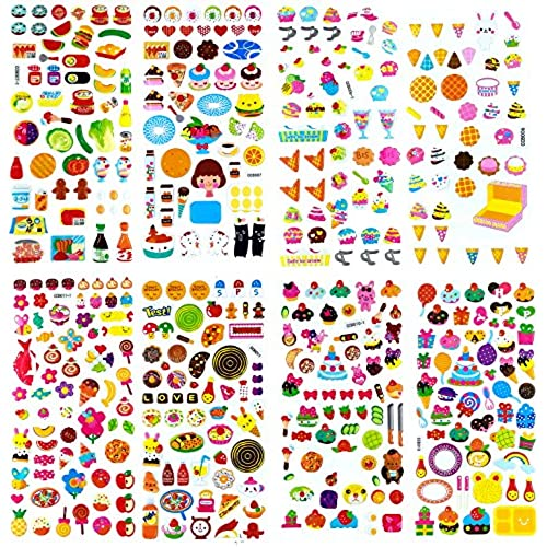 3D-SET009 - 8 Sheets of 3d Stickers For Kids (Food Stickers, Fruit Stickers,  Vegetable Stickers) - Puffy Stickers - Dimensional Stickers - Cool Stickers  ...