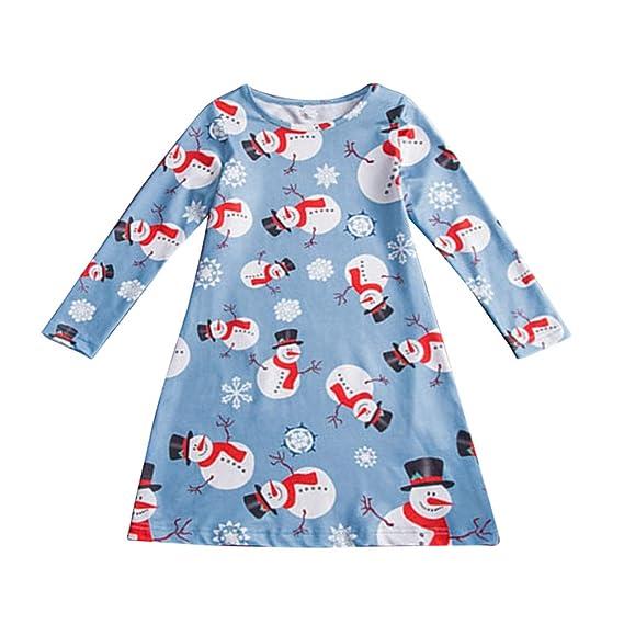 Jitong Linda Vestido de Navidad Niña - Ropa para Mama y Hija - Estampados Vestidos de Fiesta con Manga: Amazon.es: Ropa y accesorios