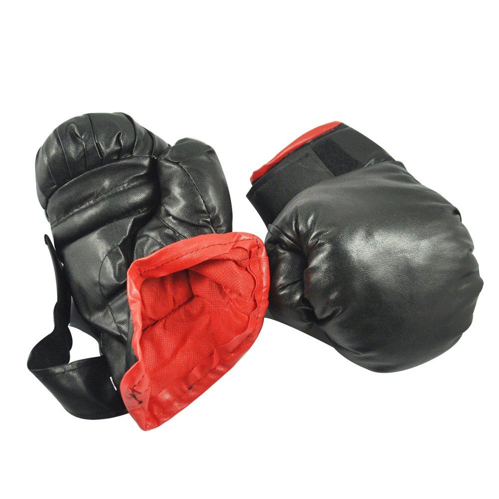 Sonline Guantes de Boxeo Negro Esponja Acolchada Cuero de Imitacion para Ninos