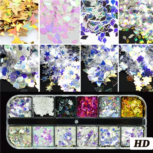 1Set Ultrathin Sequins Nail Art Glitter Mini Paillette Colorful Round 3D Nail Decorations Mixed Size Manicure Accessories BEP HD