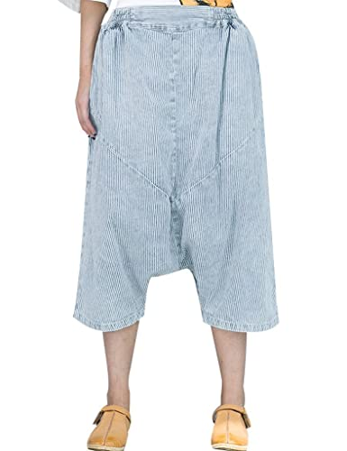 Youlee Mujer A rayas Grande Entrepierna Mezclilla Capri Pantalones